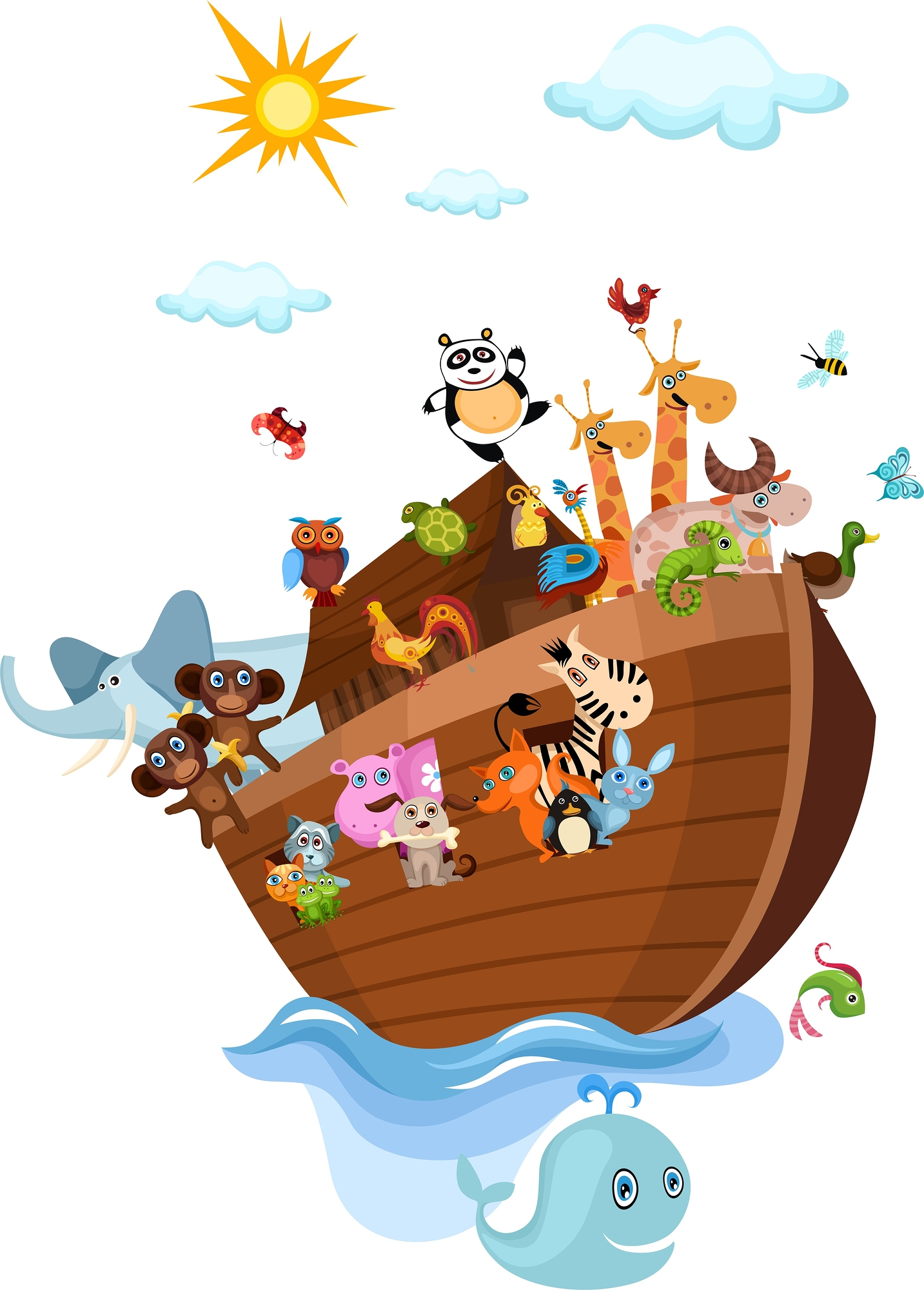 illustration of a Noah's Ark with cute animals